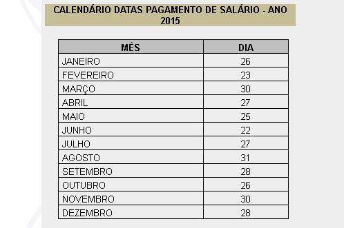 Calendário de pagamento 2015 - Prefeitura Municipal do Recife